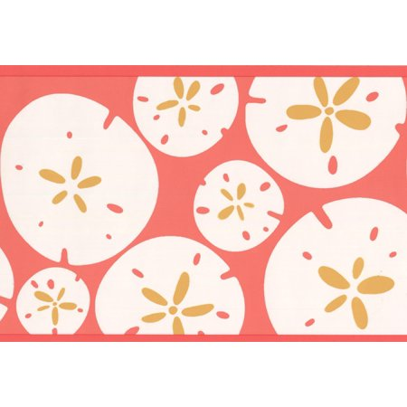 Wallpaper Border - White Round Abstract Geometric Shapes Red Wall Border Modern Design, Roll 15 ft X 7 in