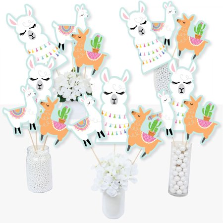 Whole Llama Fun - Llama Fiesta Baby Shower or Birthday Party Centerpiece Sticks - Table Toppers - Set of 15