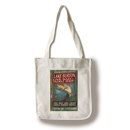 Lake Burton, Georgia - Tackle Shop Trout Vintage Sign - Lantern Press Poster (100% Cotton Tote Bag -