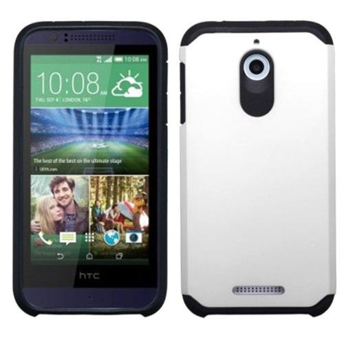 Insten Hard Dual Layer Silicone Cover Case For HTC Desire 510 - White/Black