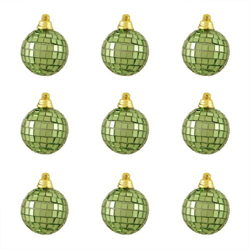 "9ct Green Mirrored Glass Disco Ball Christmas Ornaments 1.5"" (40mm)"