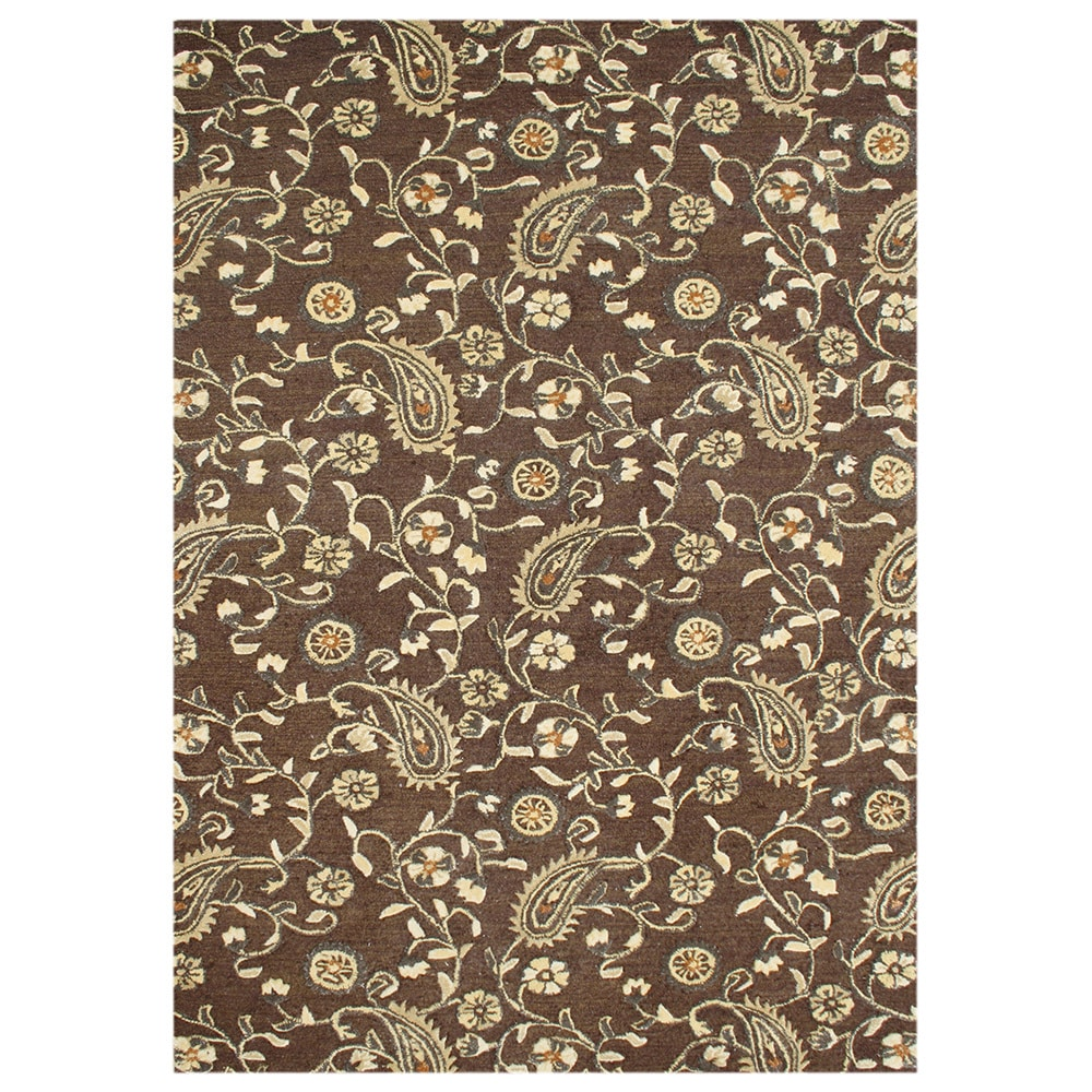 Alliyah Rugs Alliyah Handmade Tobacco Brown New Zealand Blend Wool
