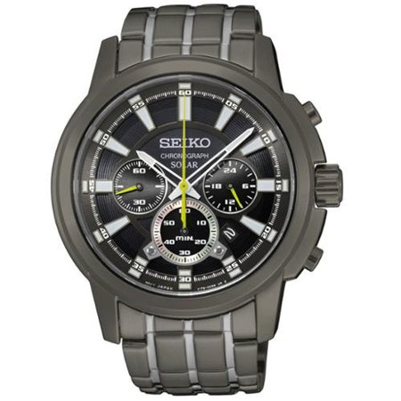 Seiko Mens SSC391 Stainless Steel Solar Chronograph Watch with a Black Dial and 6 Month Power Reserve by