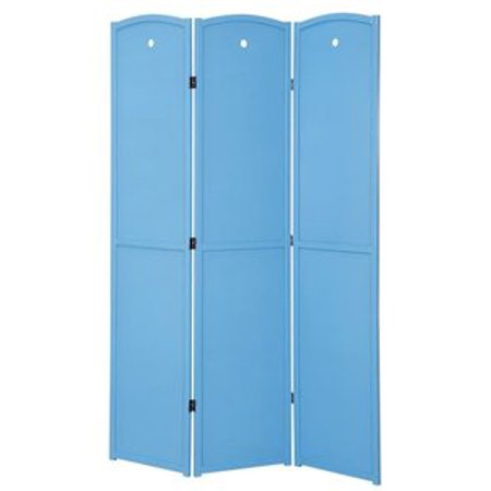 Legacy Decor 3-panel Solid Wood Screen Room Divider, Childrens Room Divider, Blue