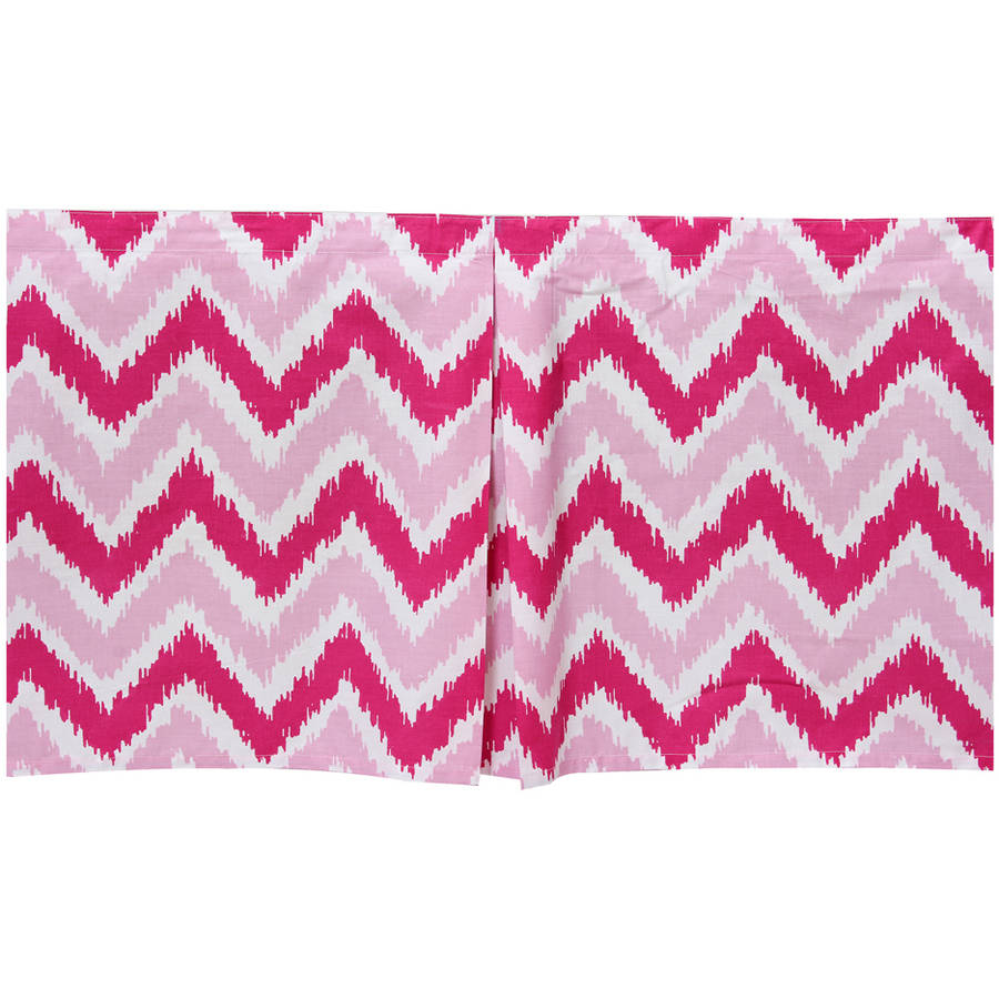 Bacati - MixNMatch Zigzag Tailored with 100% Cotton Percale 13 inch drop Crib/Toddler Dust Ruffle, Pink