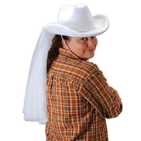 Pack of 6 White Western Bridal Hats with Veil Bachelorette Party Accessories - White Party Hats