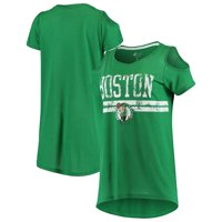 Boston Celtics G-III 4Her by Carl Banks Women's Nothing but Net Cold Shoulder Scoop Neck T-Shirt - Kelly Green