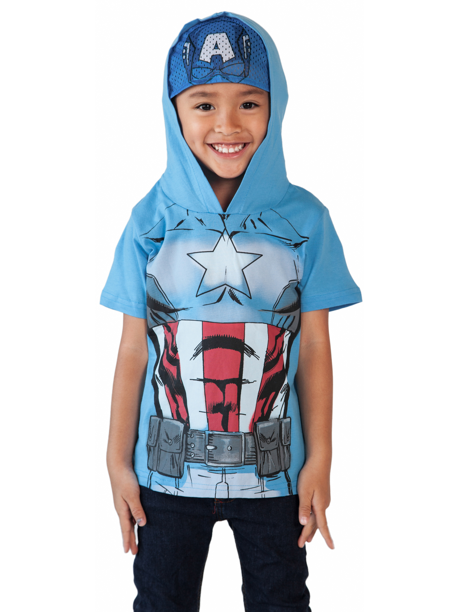 New Captain America Avengers Boys Girls lightweight tops hoodie size 4 to 13