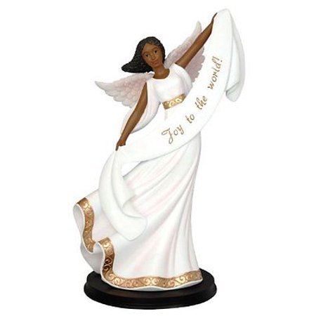 JOY TO THE WORLD African American Dancing Angel Christmas Figurine, 11