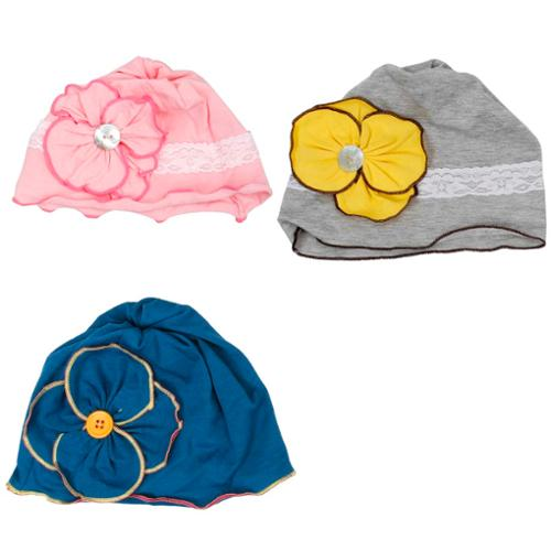 Bundle Monster 3pc Baby Girl Soft Cotton Knit Pattern Flower Hat Beanies - Set 1