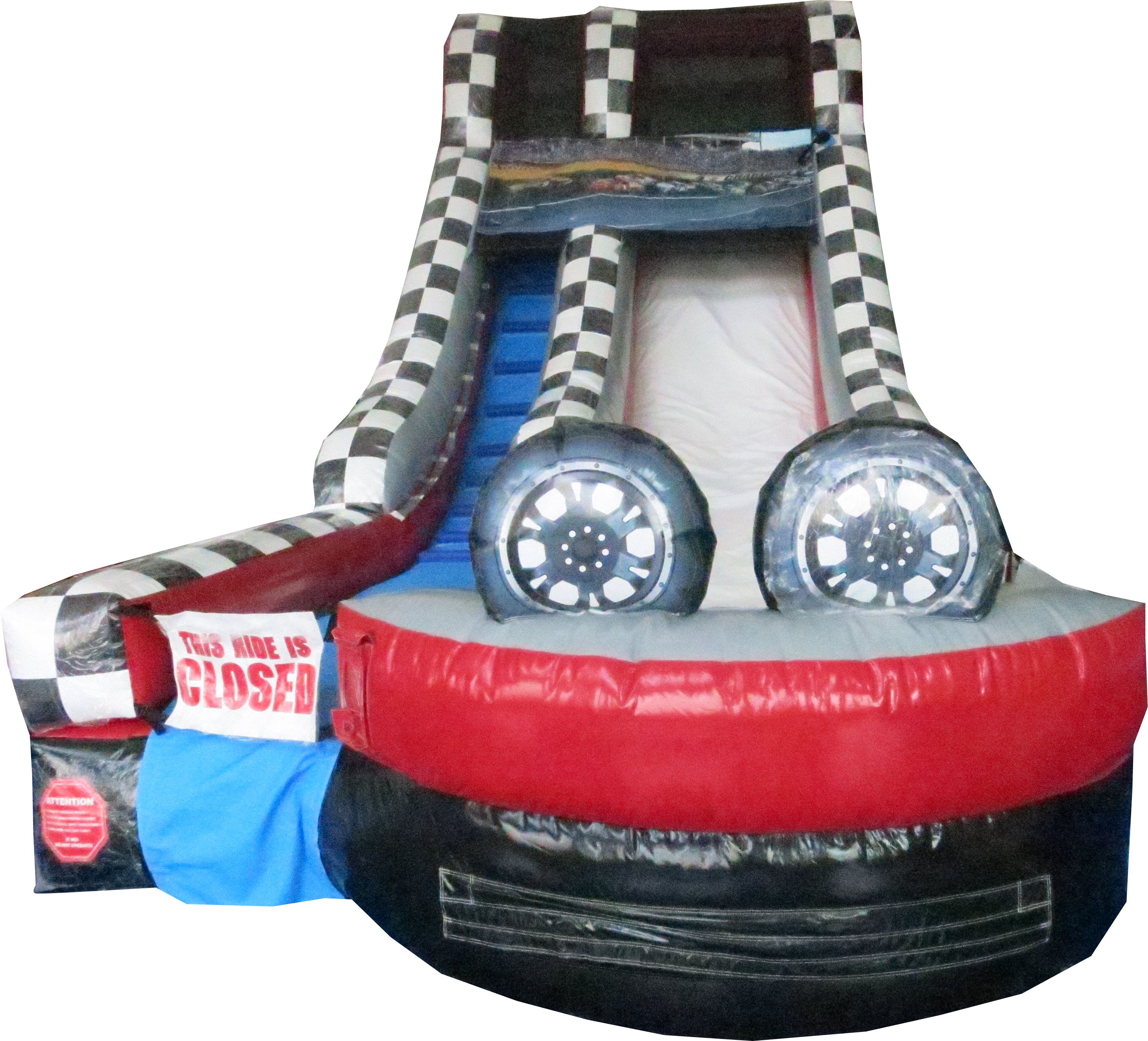 Click here to buy Pogo 15' Race Car Commercial Inflatable Single Lane Wet or Dry Waterslide by Pogo Bounce House.