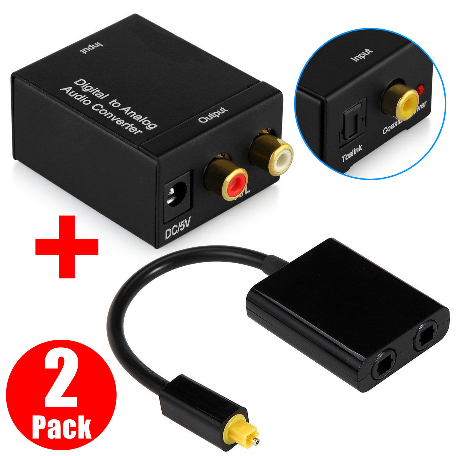 TSV Toslink Digital Optic Cable Splitter 1 to 2 With Coax to Analog Audio Converter Kit