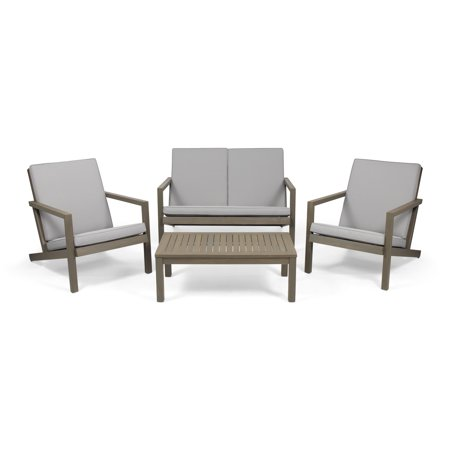 Camryn Outdoor 4 Seater Chat Set with Cushions, Gray and Gray