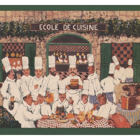 French Cooking Academy Chefs Bohemian Wallpaper Border Retro Design, Roll 15' x 8.25''