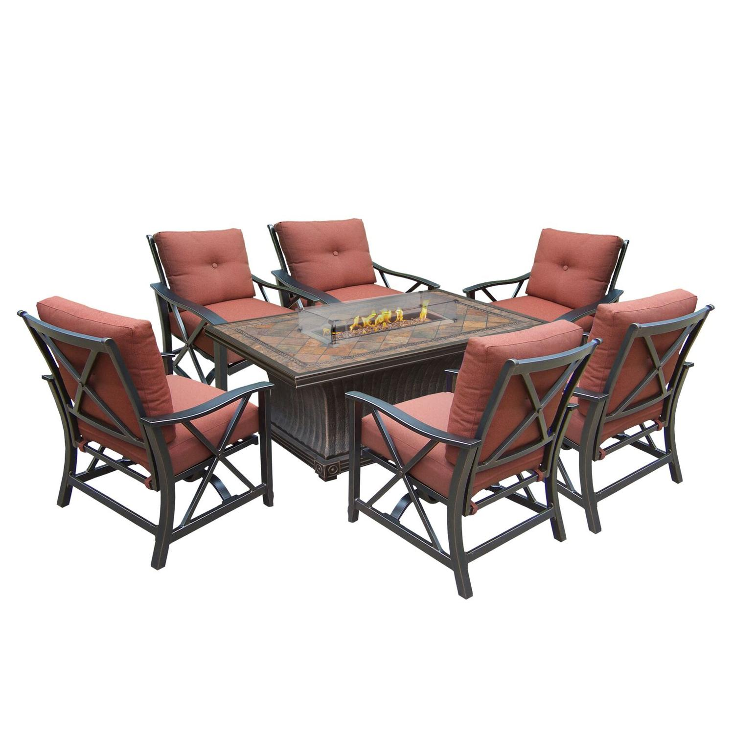 Vienna Gas Firepit Table Deep Seating 8 Pc. Chat Set