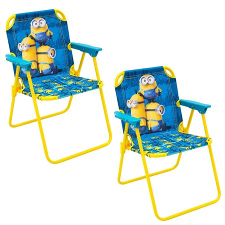 set of 2 minions folding patio lounge lawn chair for kids with safety lock outdoor indoor beach. Black Bedroom Furniture Sets. Home Design Ideas
