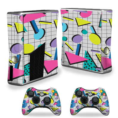 MightySkins Protective Vinyl Skin Decal for Xbox 360 S Slim + 2 controllers Case wrap cover sticker skins Awesome 80s