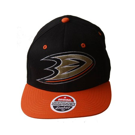NHL Anaheim Might Ducks Zephyr Black/Orange Adjustable Hat + GT Sweat Wristband - image 2 de 2