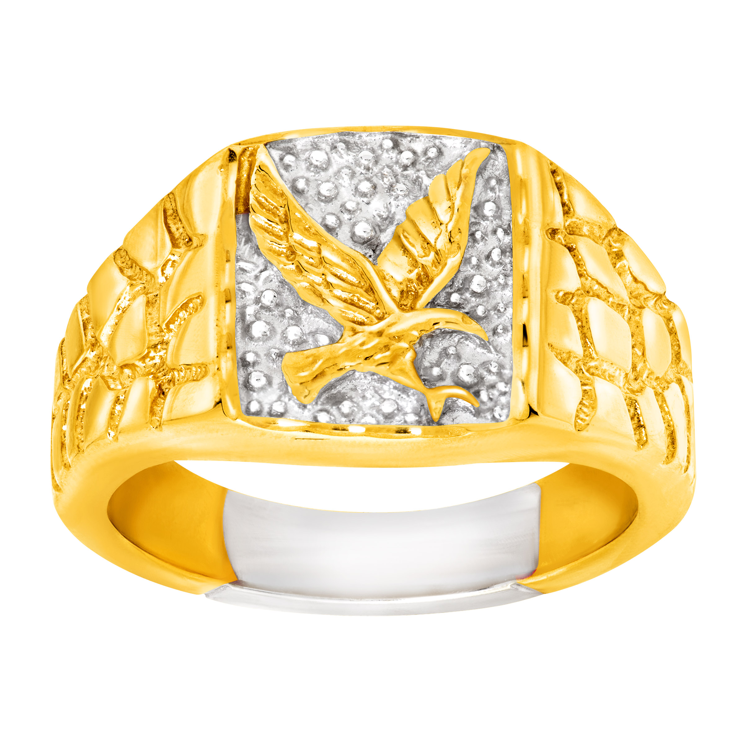 Men's Eagle Signet Ring in 14kt Gold-Plated Sterling Silver
