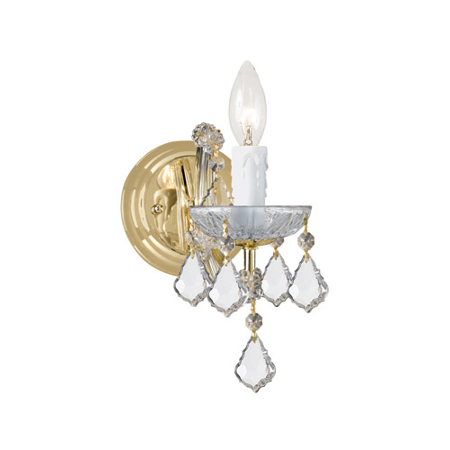 Wall Sconces 1 Light With Gold Clear Swarovski Strass Crystal Glass Candelabra 5 inch 60 Watts - World of Lighting