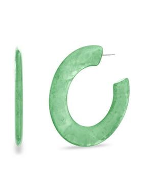 Lesa Michele Womens Green Resin Flat Open Post Hoop Earring