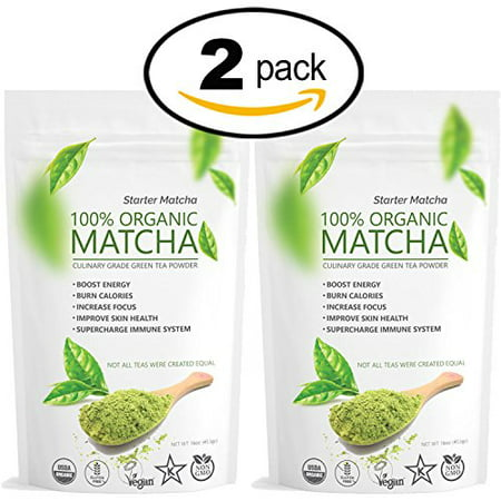 Matcha Green Tea Powder - Starter Matcha (Set of 2x 16oz) - USDA Organic, Non-GMO Certified, Vegan and Gluten-Free. Pure Matcha Green Tea Powder. Grassy Flavor with Mild Natural Bitterness and Autumn-Green color.