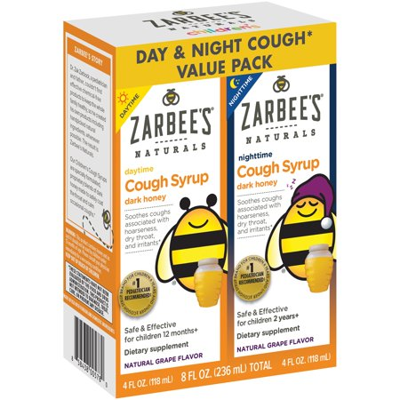 Cough Relief Syrup - Zarbee's Naturals Children's Cough Syrup with Dark Honey Day & Night Value Pack, Natural Grape Flavor 8 fl. oz. total Box