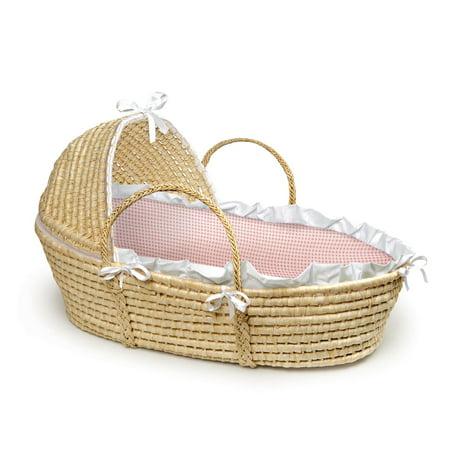 Garden Moses Basket - Badger Basket Moses Basket with Hood, Pink Gingham