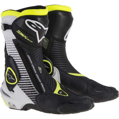 Alpinestars Smx 1 Riding Motorcycle - Alpinestars SMX Plus Vented Motorcycle Boots Black/White/Yellow