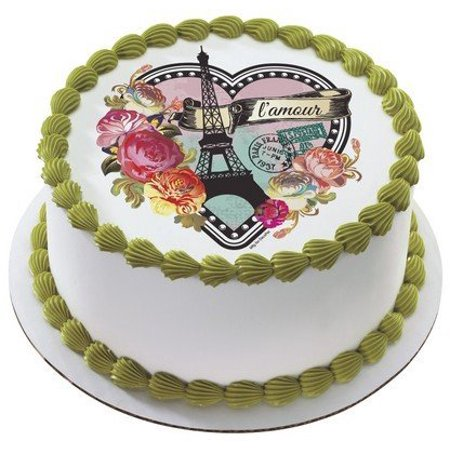 New Parisian Paris Heart Edible Cake Image Topper by, Frosting sheet is Approximately 7.5