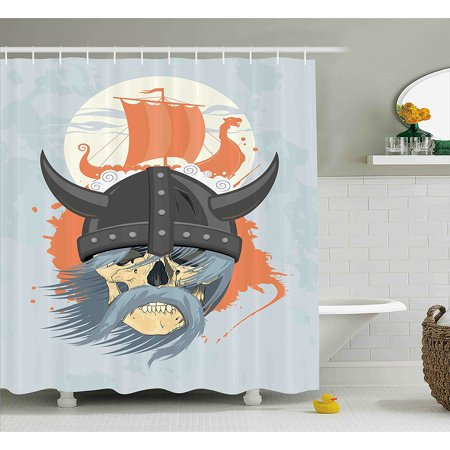 Viking Shower Curtain Set By Cartoon Ghost Skull Nordic War Combat Norse Medieval Helmet With Horns Dragon Head Ship Fabric Bathroom Decor