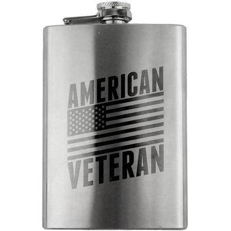 American Veteran Flag 8oz. - American Flag Flask