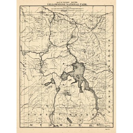 Map Of North America Yellowstone National Park.1900 Yellowstone National Park Tourist Map Wyoming United States Antique Historic North America Print Wall Art