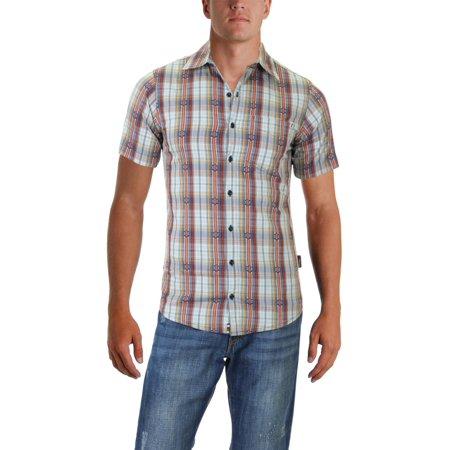 Sherpa Mens Seti Sun Protection Plaid Button-Down Shirt Brown S