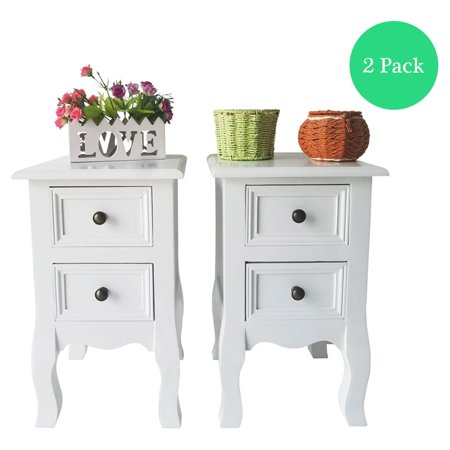 Joyfeel 2pcs Wood Drawers Storage Cabinets With Doors Country Style Two Layer Bedside White 22 62 15 6