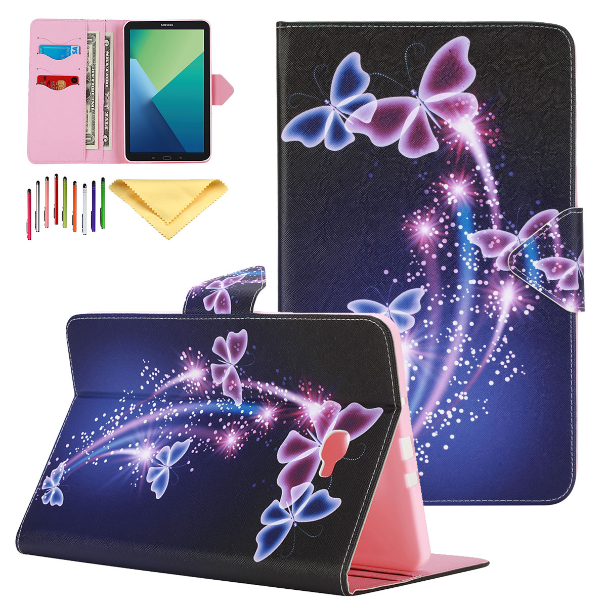 Goodest Slim Shell Case for Samsung Galaxy Tab A 10.1 with S Pen, Ultra Lightweight Protective Stand Smart Cover with Auto Sleep/Wake for Galaxy Tab A with S Pen 10.1 inch SM-P580/P585, Butterflies