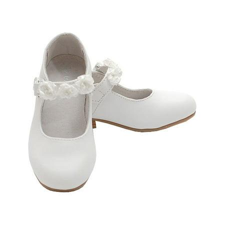 White Mary Jane Flower Accent Flat Dress Shoes Toddler Little Girl - Navy Blue Flower Girl Shoes