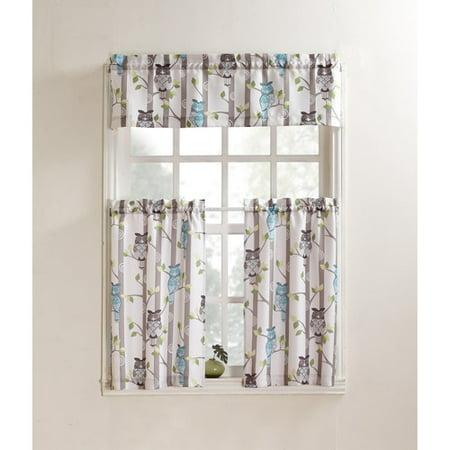 No. 918 Hoot Kitchen Valance and Kitchen Curtains, Set of