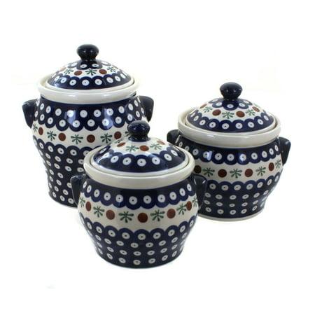 Blue Rose Polish Pottery Nature Canister Set