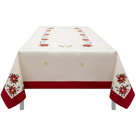 Creative Home Ideas Holiday Poinsettia Embroidered Rectangular Tablecloth with Red Trim Border (Creative Dresses Ideas)