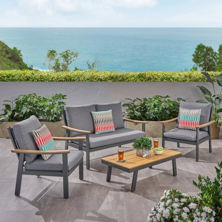 Aluminum 4 Piece - Christopher Knight Home Sinclair Outdoor 4 Piece Aluminum and Faux Wood Chat Set by