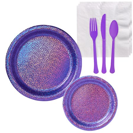 Party City Prismatic Tableware Supplies for 16 Guests, Include Plates and Napkins, plus Utensils](Party City Plus)