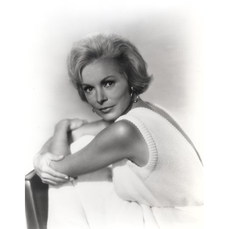 Janet Leigh Posed in White Sleeveless Cotton Dress and Hoop Earrings with Arms Crossed and Knees Bent Photo Print - Hoop Dresses For Sale