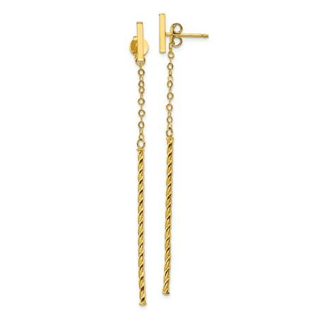 14K Yellow Gold Plated Twisted Stick Dangle Post -
