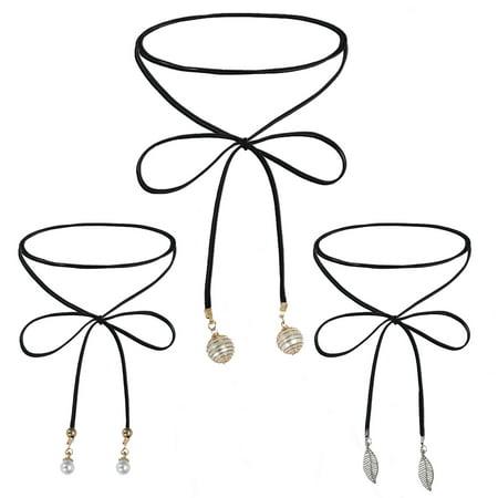 Choker Necklace Long Chain Wrap Set Gothic Black Velvet 3 (Wrapped Chain Link)