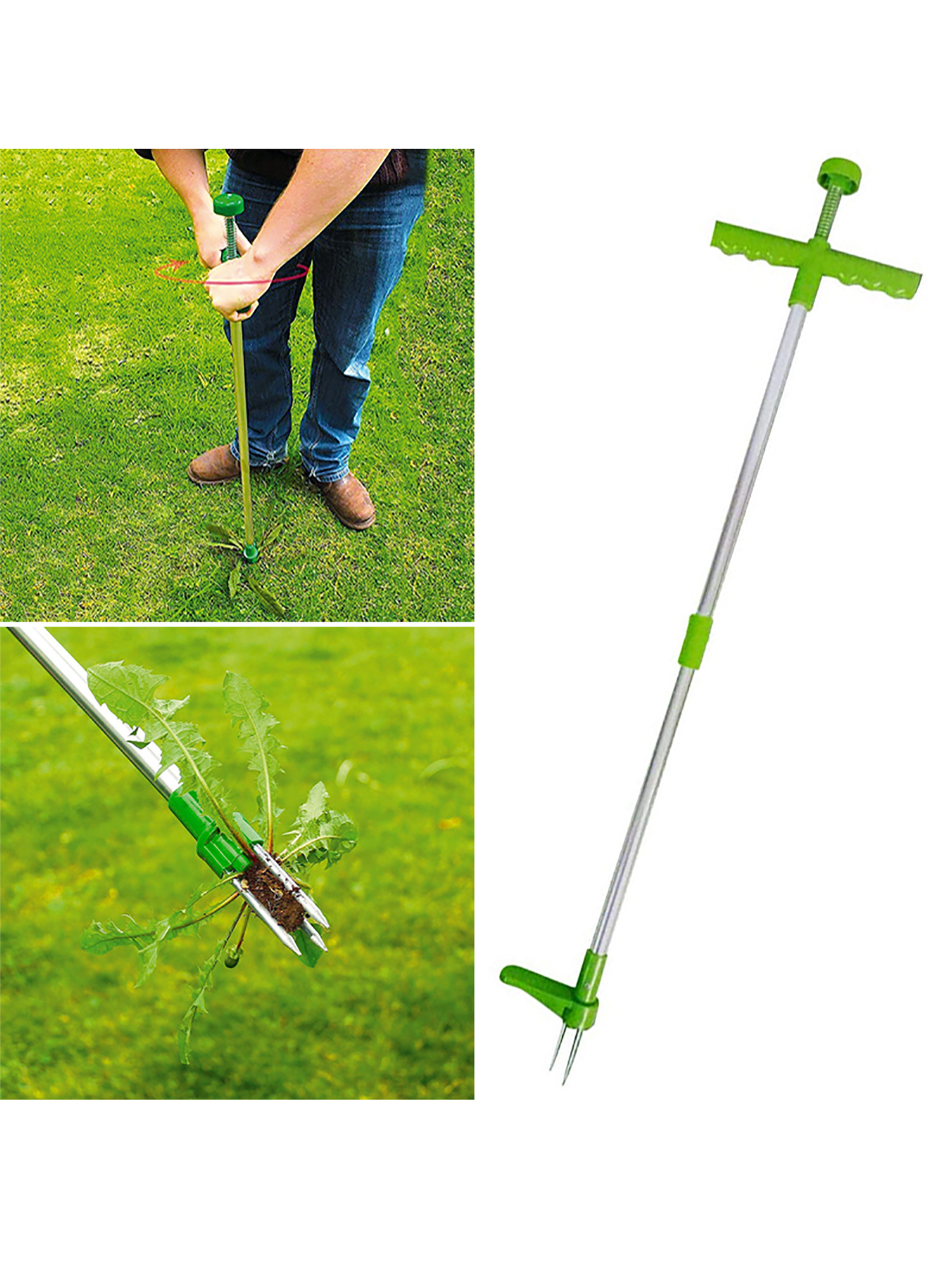 Fuyamp Steel Weed Puller Twister Claw Weed Remover Stand-Up Weeder and Root Removal Tool Garden Hand Tool Weeder