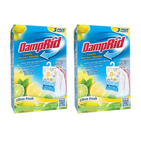 (2 pack) DampRid Hanging Moisture Absorber, Citrus Fresh Scent, 3 x 14 Oz, 6
