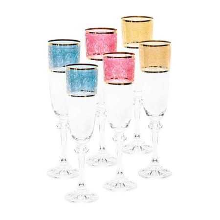 Italian Collection Crystal 7 Oz 'Julia' Multicolored Champagne Flute Glasses