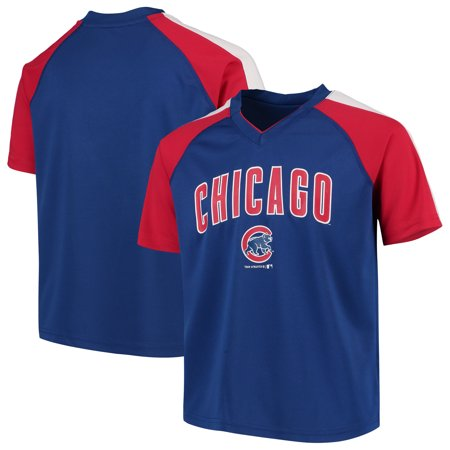 - Youth Royal Chicago Cubs Poly Mesh Raglan V-Neck T-Shirt