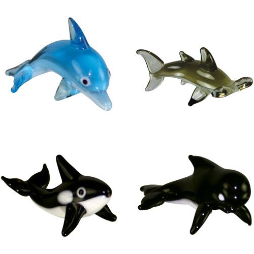 BrainStorm Looking Glass Miniature Glass Figurines, 4-Pack, Bottlenose Dolphin/Hammerhead Shark/Orca/Pilot Whale